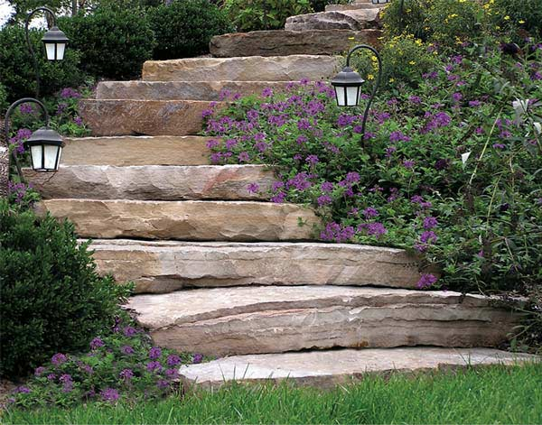 Hand-hewn stone steps
